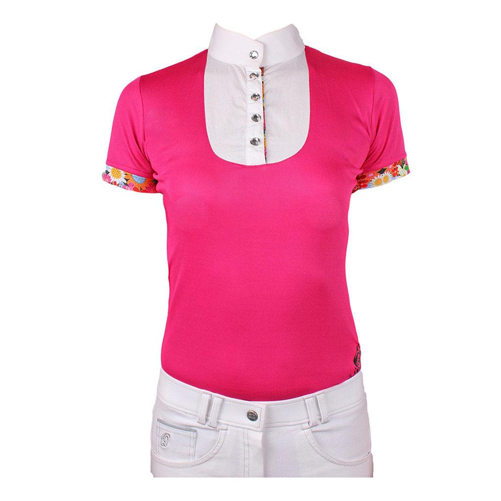 qhp wedstrijd shirt junor flower power roze 8060