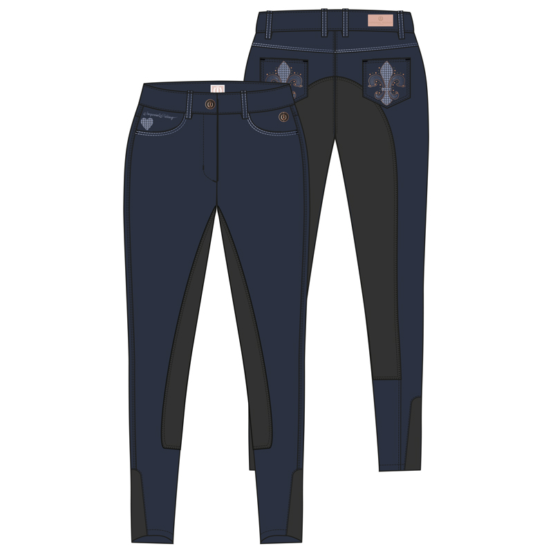 Rijbroek All Into Lily Leather Kneepatch Navy