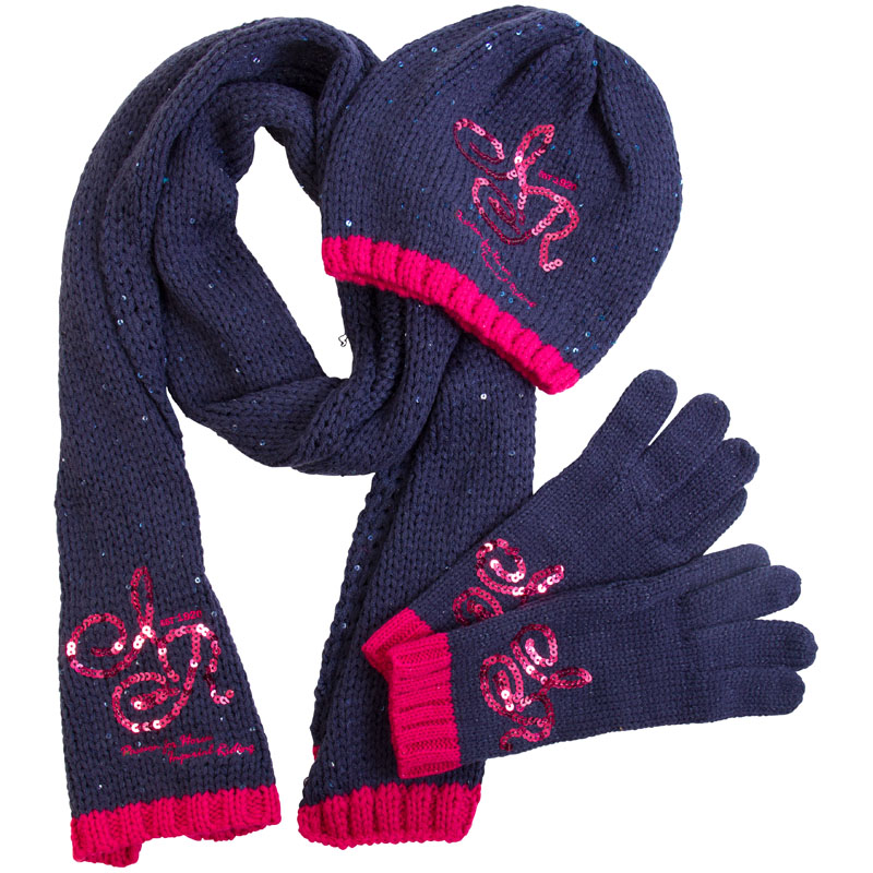 Set Muts Sjaal En Handschoenen Keep Me Warm Navy