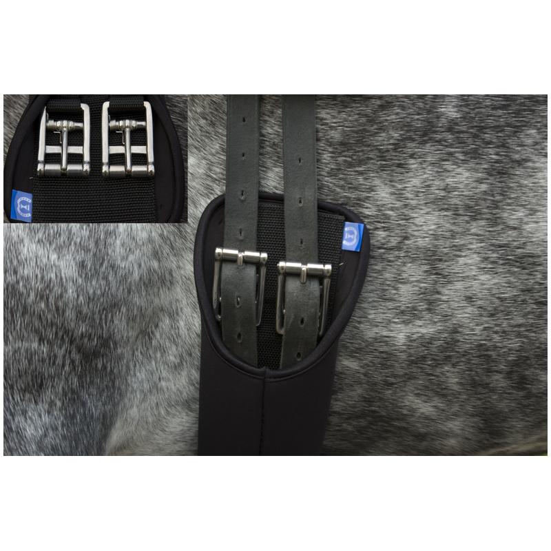 Dressuursingel Neopreen Met Rolgesp Met Veer Zwart