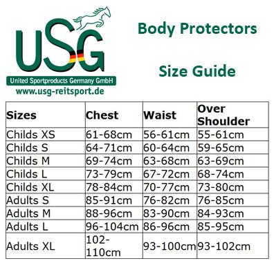 maattabel USG bodyprotector