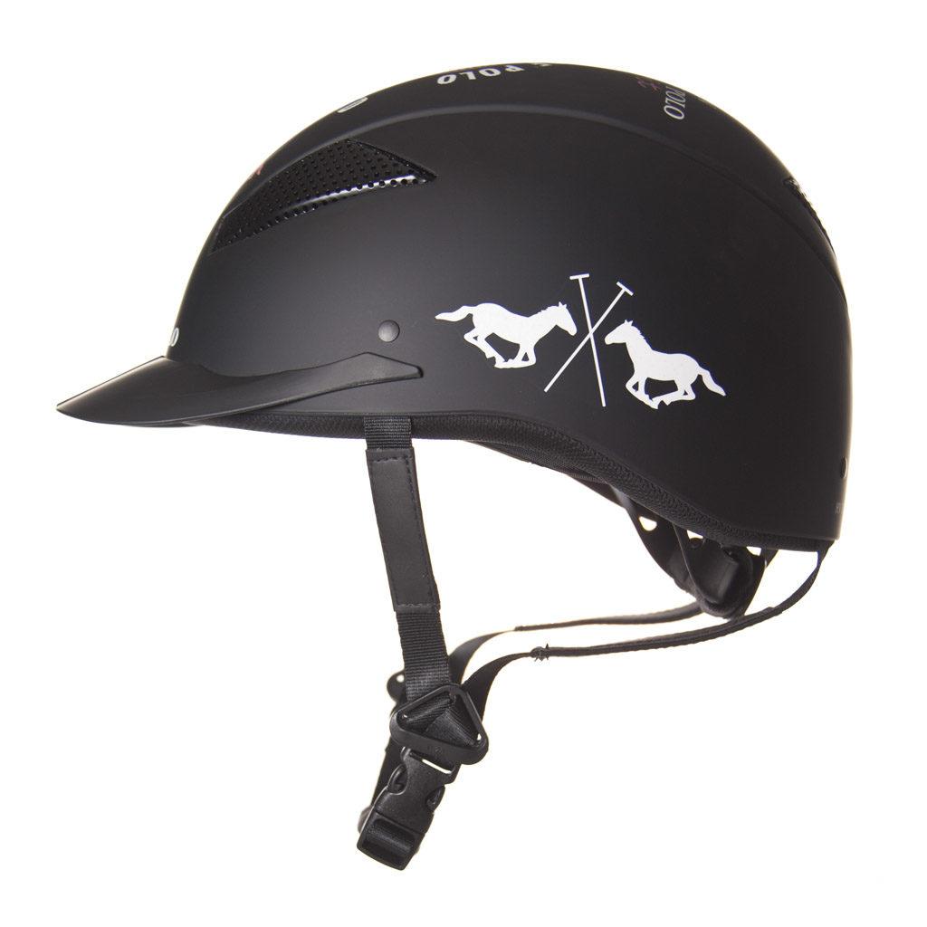 HV Polo paardrijcap MCLennan zwart 1001092802 zijaanzicht
