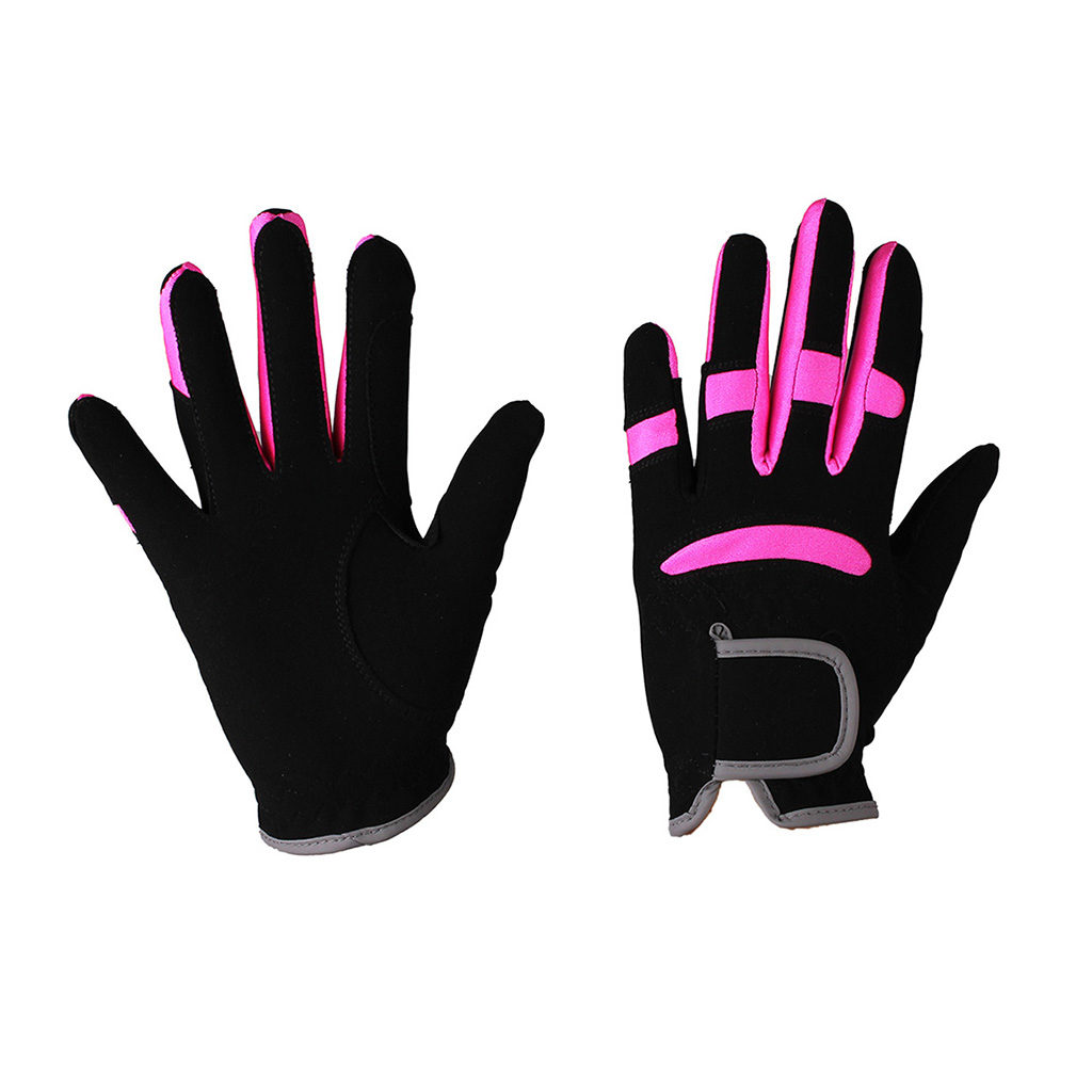 qhp handschoen mulit zwart-fuchsia 7006zwfu