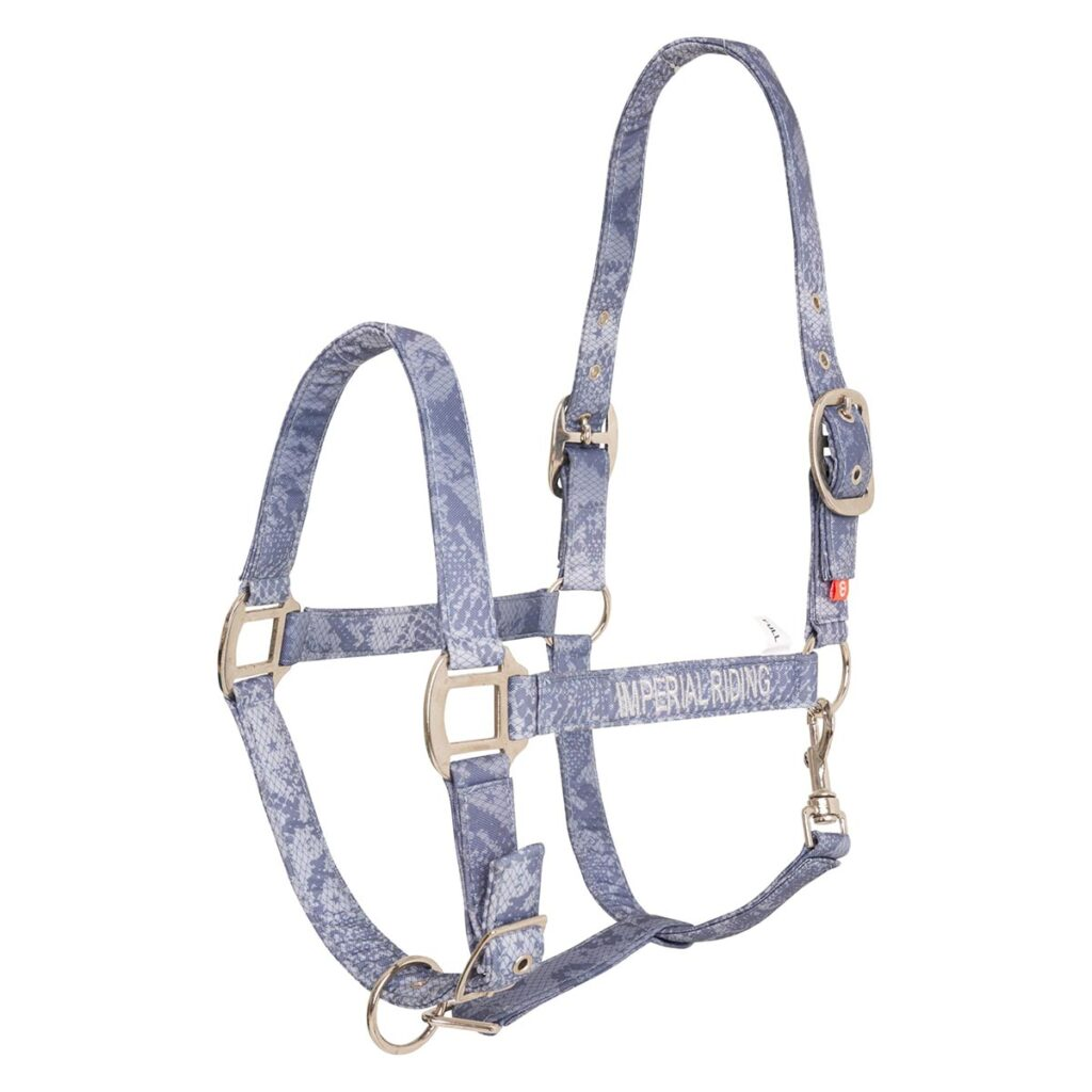 imprial riding halster shiny snake blauw